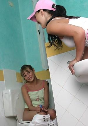 Two cute teen girls having fun with their favorite big dildo