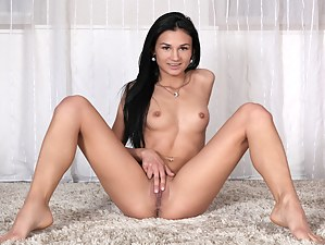 Perky tit exotic beauty satisfies her cum hungry shaved twat