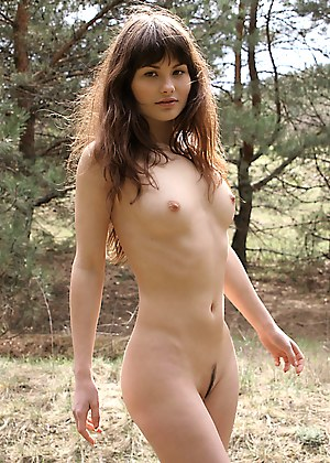 Stunning brown-eyed babe has a walk in the coniferous wood and poses nude among green pines and spruces.