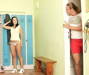 Brunette teenager gets fucked by her trainer in lockerroom