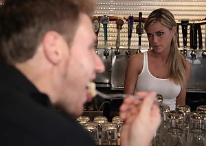 Tanned, busty and skinny, this blonde waitress is the perfect fuck-toy. A big-dicked police officer decides to fuck her raw, because he can.