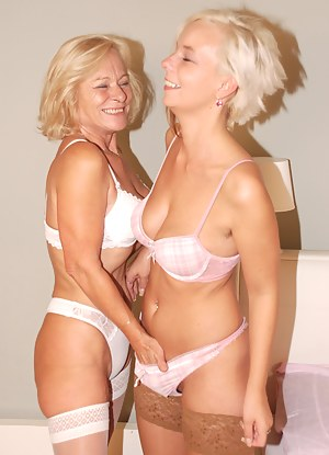 Two blonde old and young lesbians get naughty