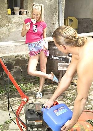 Sweet teenage blondie gets her wet pussy fucked outdoor