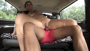 This week I set up Kloe Joy with a stranger. She's never been fucked in a car so while her hubby's at work, she's being a naughty slut with a younger Hispanic guy. Before we met up with him Kloe flashed her naked MILF body in public while I took some pics