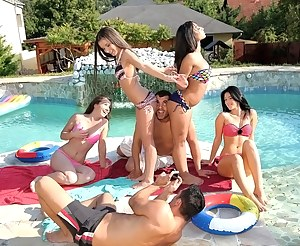 Swimming pool is the best place for having sensational gangbang party. These babes are taking off their sexy bikinis and getting penetrated hard.