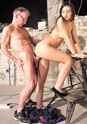 This dirty teen lets the old guy fuck her right there!