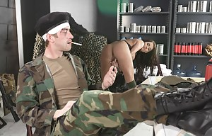 Hardcore brunette hottie joins the military to fuck only the hardest SOBs she can find, watch her pleasure a wounded soldier.