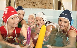 Five lesbian waterpolo playing teen girls toying in the pool