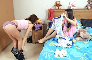 Two teen lesbians having a sexy fuck party after school