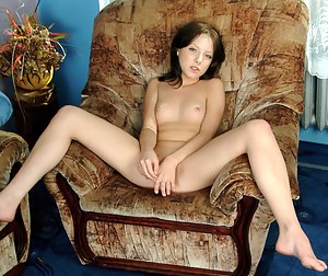 Sultry honey babe finally uncovers her fuckable fresh womanhood on sofa