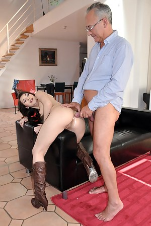 Amazing brunette babe suck and fuck senior Jim cock hard