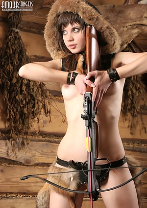 Naughty teen girl with delicious parts dreams of becoming a good hunter in the future and shows her skills.