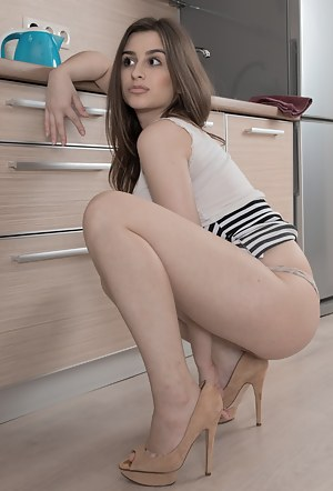 Penelope Fiore is in her kitchen and showing off her sexy natural body. She strips and has hairy pits and a very hairy bush. She gets on the kitchen table to show us her naked Ukrainian body and figure.